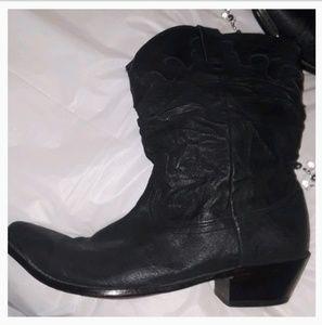 Vintage Durango Black Leather Boots 10
